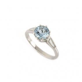 Aquamarine and Diamond Ring in Platinum 1.12ct